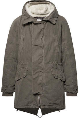 Yves Salomon Shearling-Trimmed Cotton Hooded Parka with Detachable Down Lining - Men - Army green