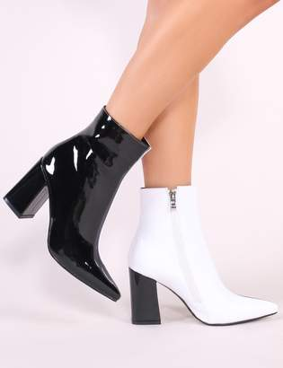556d8b32a29 Public Desire Chaos Two-Tone Pointed Toe Ankle Boots and White Patent