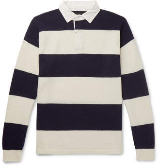 Beams Cotton Poplin-Trimmed Striped Wool Sweater