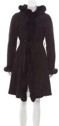 Belle Fare Fur-Trimmed Hooded Coat