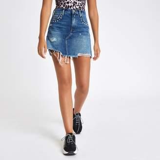 River Island Womens Mid Blue stud embellished denim mini skirt