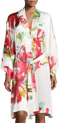Josie Natori Tropics Floral-Print Robe, Multi Pattern