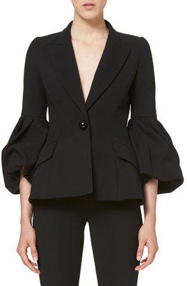 Carolina Herrera One-Button Bell-Sleeve Jacket, Black $2,590 thestylecure.com