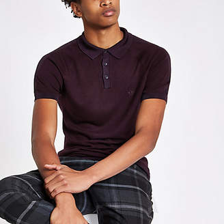 River Island Burgundy slim fit wasp embroidered polo shirt