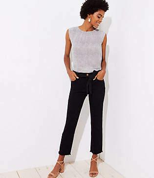 LOFT Petite Tie Waist Straight Leg Jeans in Black