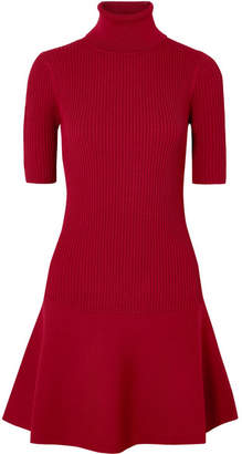 MICHAEL Michael Kors Ribbed Stretch-knit Turtleneck Mini Dress - Burgundy