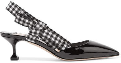 Miu Miu - Patent-leather And Gingham Canvas Slingback Pumps - Black
