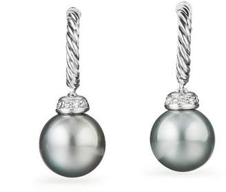 David Yurman Solari Drop Earrings with Diamonds & Cultured Tahitian Gray Pearls