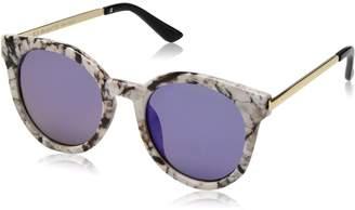 A. J. Morgan A.J. Morgan Women's Hi There Round Sunglasses, White Marble/Blue Mirror