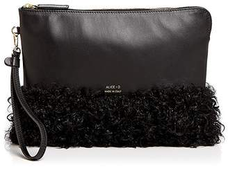 Alice.D Shearling and Leather Clutch