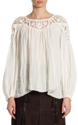 Chloé Cheesecloth Crochet Inset Blouse