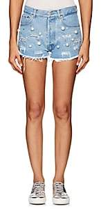 Couture Forte Women's Vanessa Embellished Denim Shorts-Md. Blue Size 26