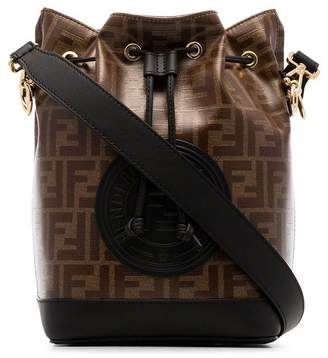 Fendi black and brown mon tresor canvas and leather bucket bag