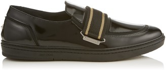 Jimmy Choo GUY Black Shiny Calf Leather Slip On Trainers with Gold Ribbon Detailing