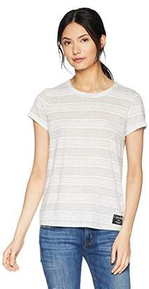 Calvin Klein Jeans Women's Short Sleeve T-Shirt Linen Stripe Crew Neck