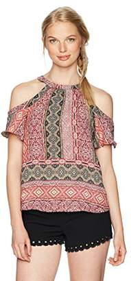 Amy Byer A. Byer Women's Printed Cold Shoulder Top With Criss Cross Back
