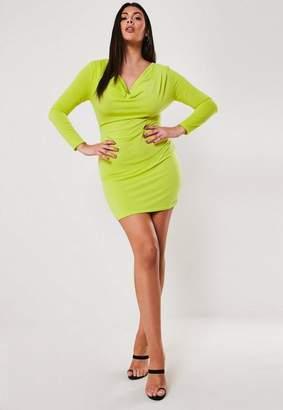 Missguided Plus Size Lime Cowl Neck Slinky Mini Dress