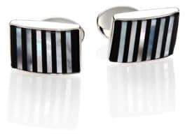 David Donahue Sterling Silver, Onyx& Mother Of Pearl Cuff Links