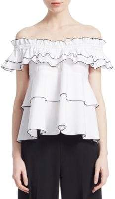 Derek Lam 10 Crosby Off-The-Shoulder Smocked Top