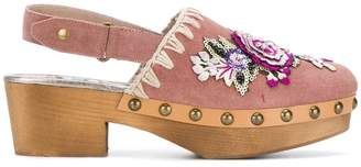 Mou embroidered clog sandals