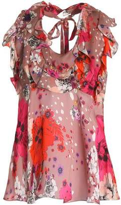 Roberto Cavalli Tie-Back Ruffle-Trimmed Floral-Print Silk-Chiffon Blouse