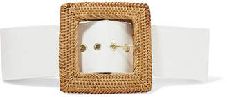 Sylvie Rattan And Poplin Waist Belt - Off-white