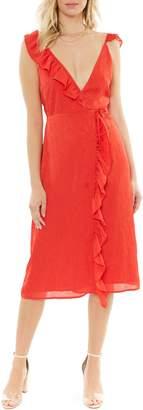 4SI3NNA the Label Sleeveless Ruffle Wrap Dress