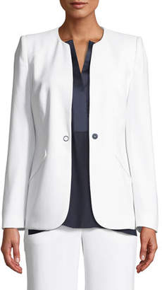 Elie Tahari Allegra One-Snap Crepe Jacket