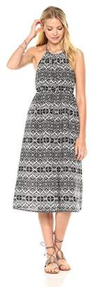 Peace Love Maxi Women's Summer Abstract Printed Midi-Length Dress Black