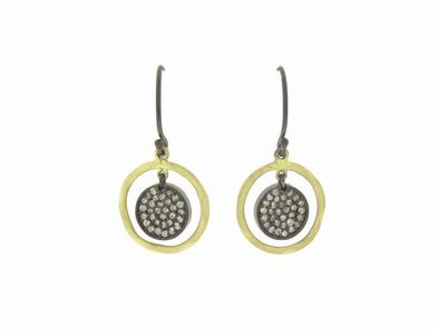 Joannes Treasure Hunt Pave Diamond Disc Earrings with Gold Halos