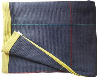 Waffle Design Newman Navy Olive Hand Embroidered Reverse Throw