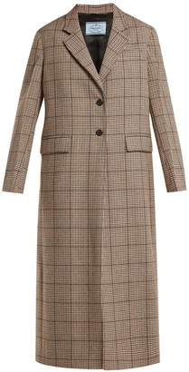 Prada Single-breasted houndstooth wool-blend coat