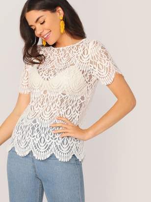 Shein Scallop Edge Sheer Lace Top Without Bra