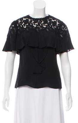 Rebecca Taylor Short-Sleeve Silk Lace Top