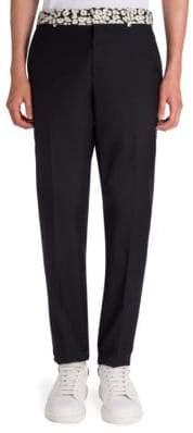 Alexander McQueen Leopard-Trim Wool & Silk Blend Pants