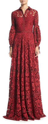 Lela Rose Full-Sleeve Lace Gown