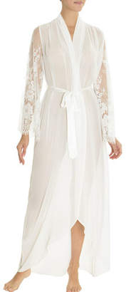 Jonquil Carina Lace-Trim Chiffon Long Robe