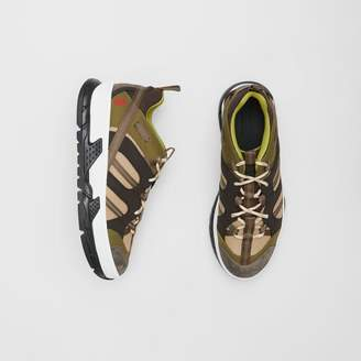 Burberry Mesh and Suede Union Sneakers