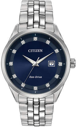 Citizen Eco-Drive Men Corso Diamond-Accent Stainless Steel Bracelet Watch 41mm