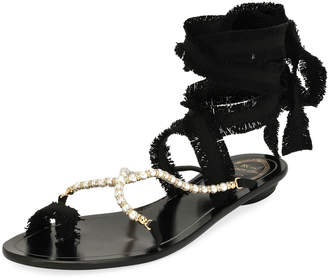 Rene Caovilla Pearlescent Ribbon Flat Sandals