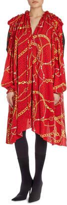 Balenciaga Draped Chain-Print Combo Dress