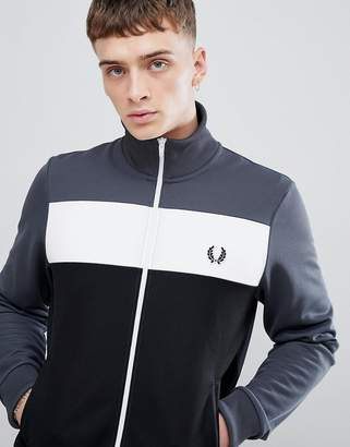 Fred Perry Sports Authentic Color Block Track Jacket in Charcoal