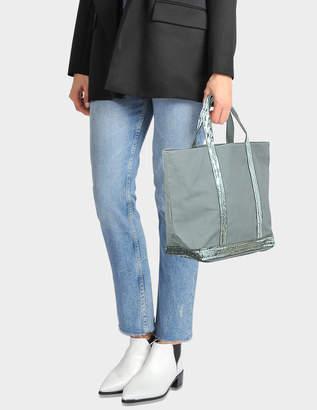 Vanessa Bruno Canvas and Sequins Medium Tote Bag in Nuage Cotton