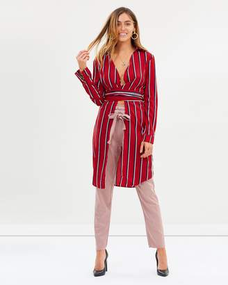 Missguided Longline Tie Front Striped Shirt
