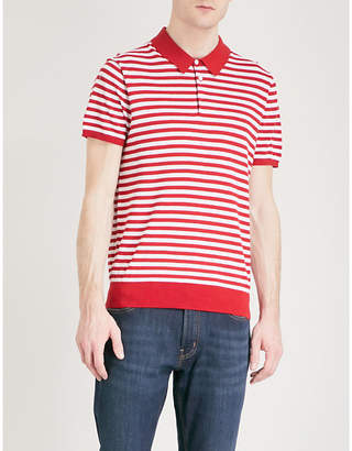 Michael Kors Striped silk and cotton-blend polo shirt