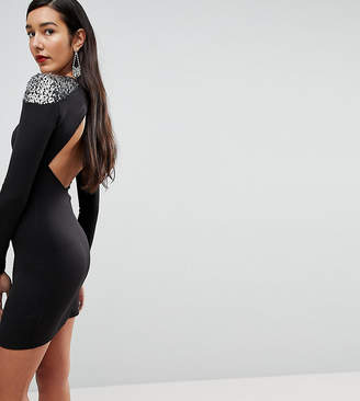 Asos Tall TALL Embellished Shoulder Bodycon Open Back Mini Dress