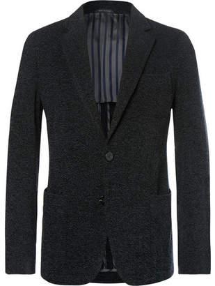 Giorgio Armani Midnight-blue Slim-fit Upton Unstructured Mélange Bouclé Blazer