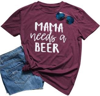 NANYUAYA Mama Needs a Beer Short Sleeve T Shirt Women Funny O-Neck Casual Tees Size M