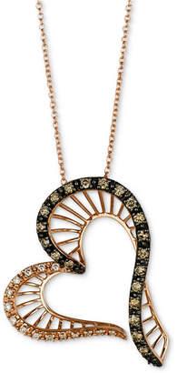 "LeVian Le Vian Chocolatier Diamond Heart 18"" Pendant Necklace (3/8 ct. t.w.) in 14k Rose Gold"