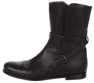 Bottega Veneta Leather Round-Toe Ankle Boots